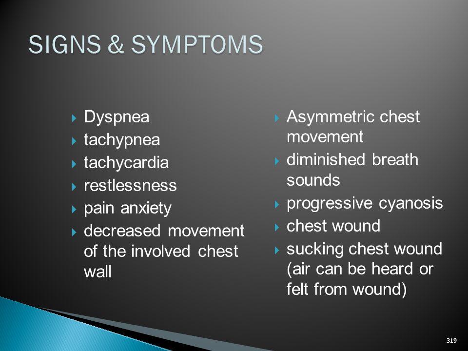 SIGNS & SYMPTOMS Dyspnea tachypnea tachycardia restlessness