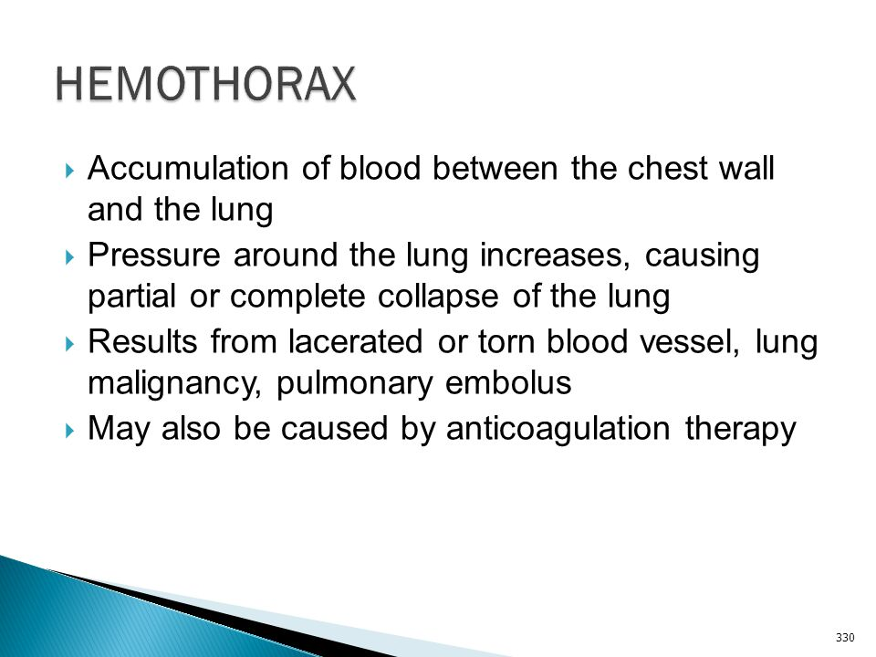 HEMOTHORAX Accumulation of blood between the chest wall and the lung