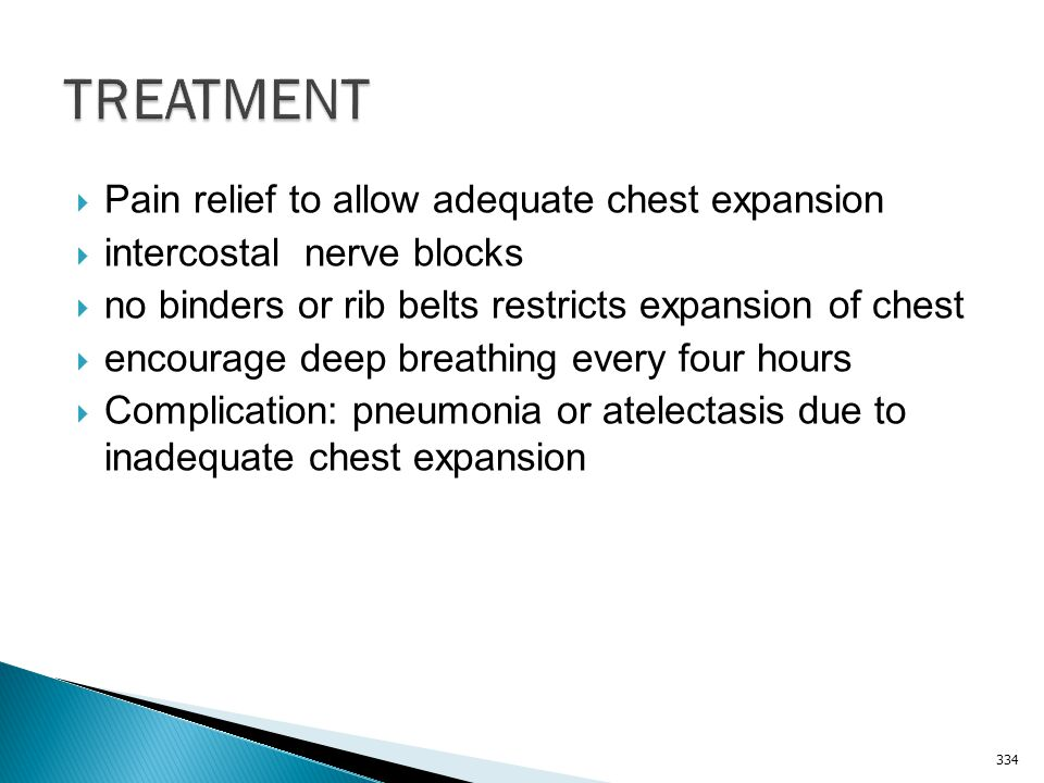 TREATMENT Pain relief to allow adequate chest expansion