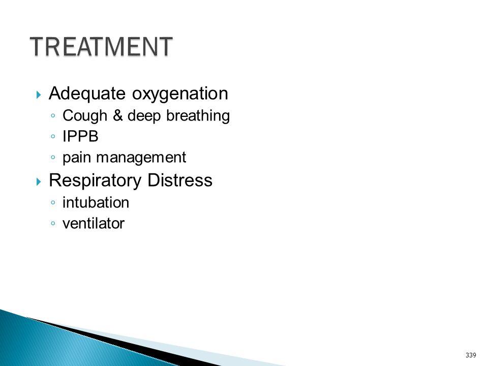 TREATMENT Adequate oxygenation Respiratory Distress