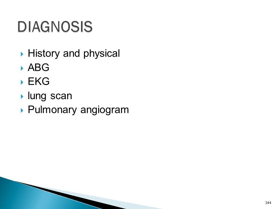 DIAGNOSIS History and physical ABG EKG lung scan Pulmonary angiogram