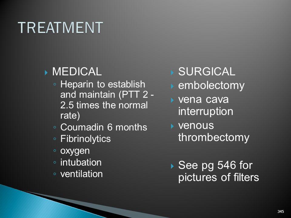 TREATMENT MEDICAL SURGICAL embolectomy vena cava interruption