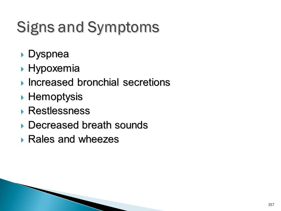 Signs and Symptoms Dyspnea Hypoxemia Increased bronchial secretions