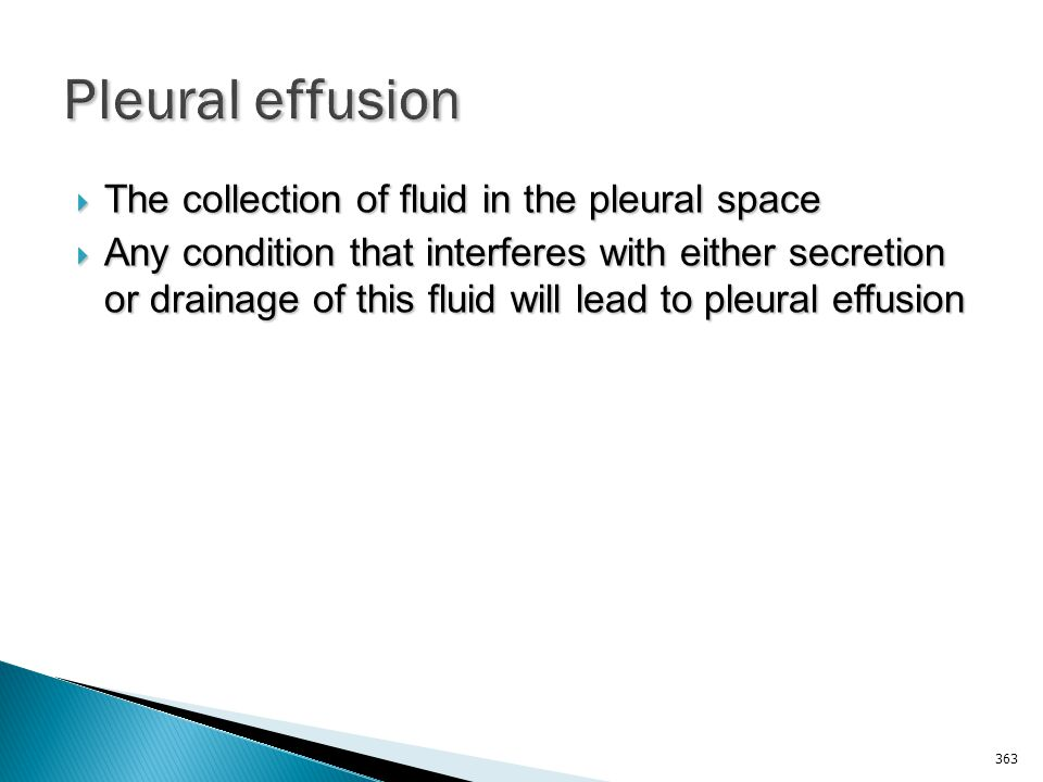 Pleural effusion The collection of fluid in the pleural space