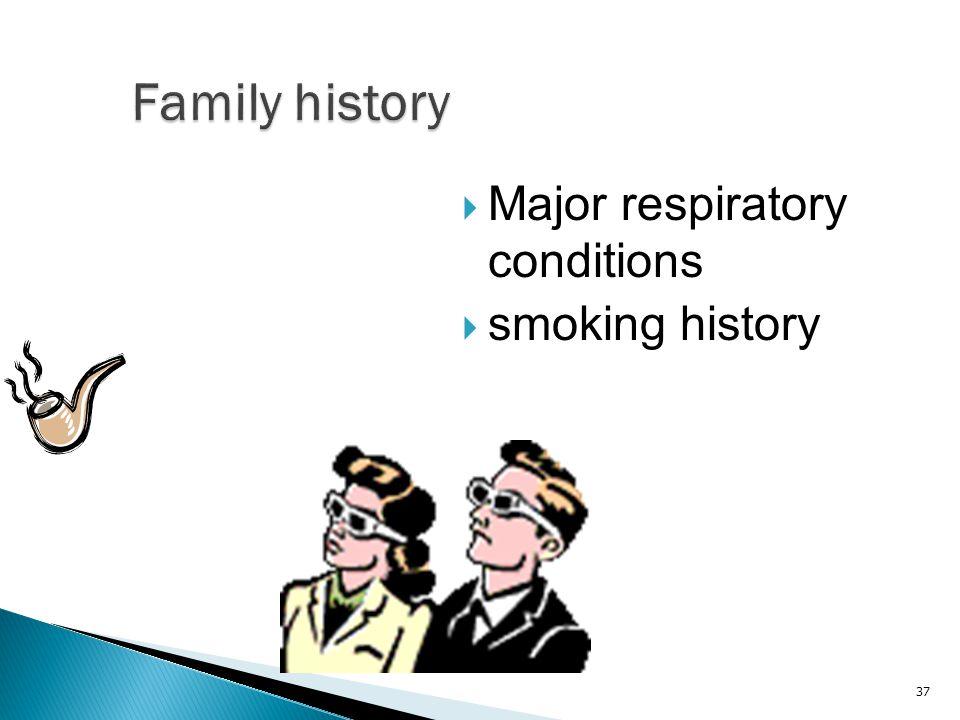 Family history Major respiratory conditions smoking history