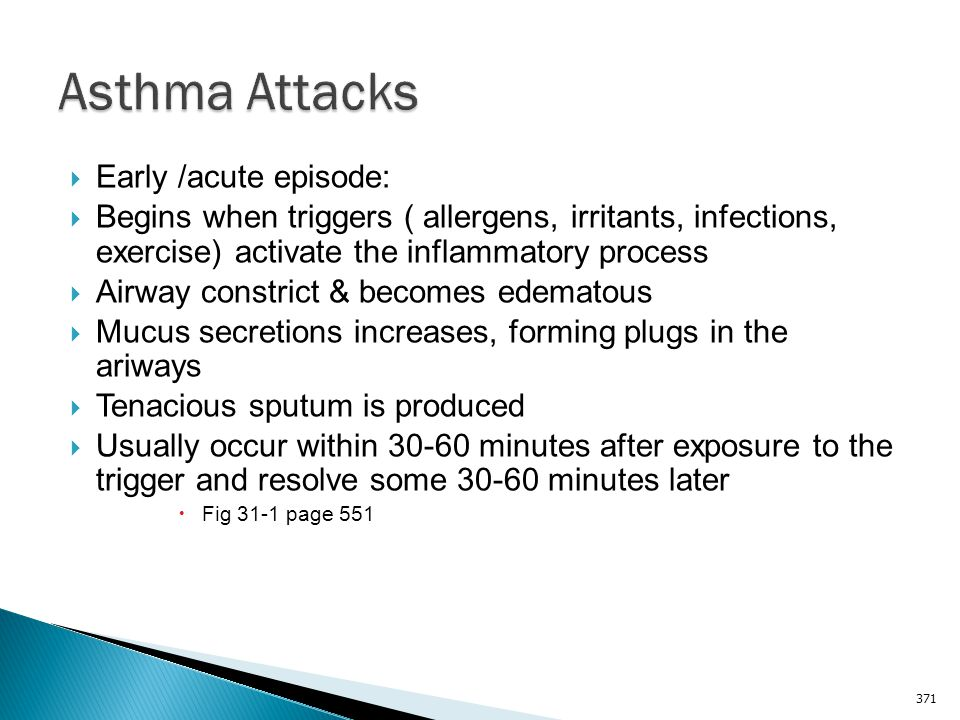 Asthma Attacks Early /acute episode: