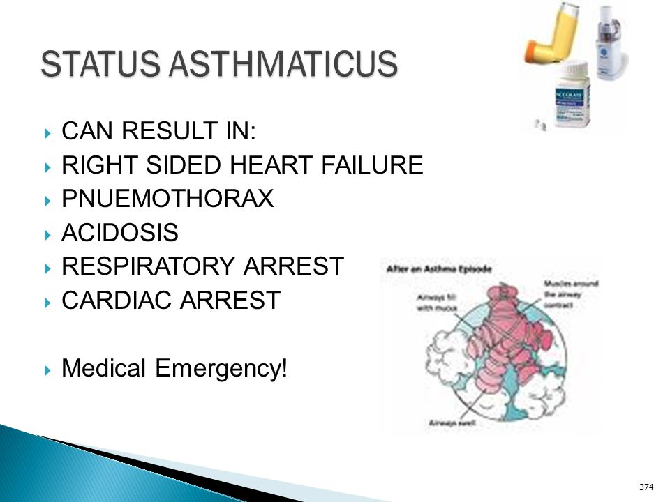 STATUS ASTHMATICUS CAN RESULT IN: RIGHT SIDED HEART FAILURE