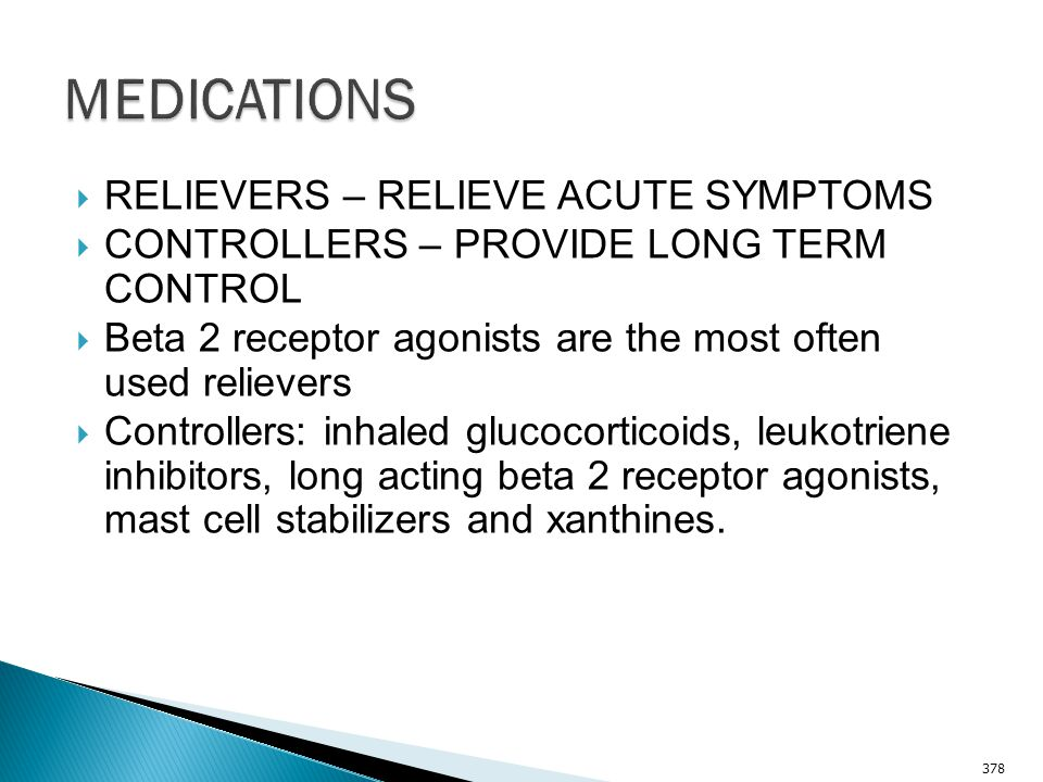 MEDICATIONS RELIEVERS – RELIEVE ACUTE SYMPTOMS