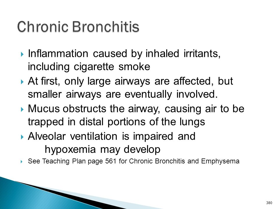 Chronic Bronchitis Inflammation caused by inhaled irritants, including cigarette smoke.