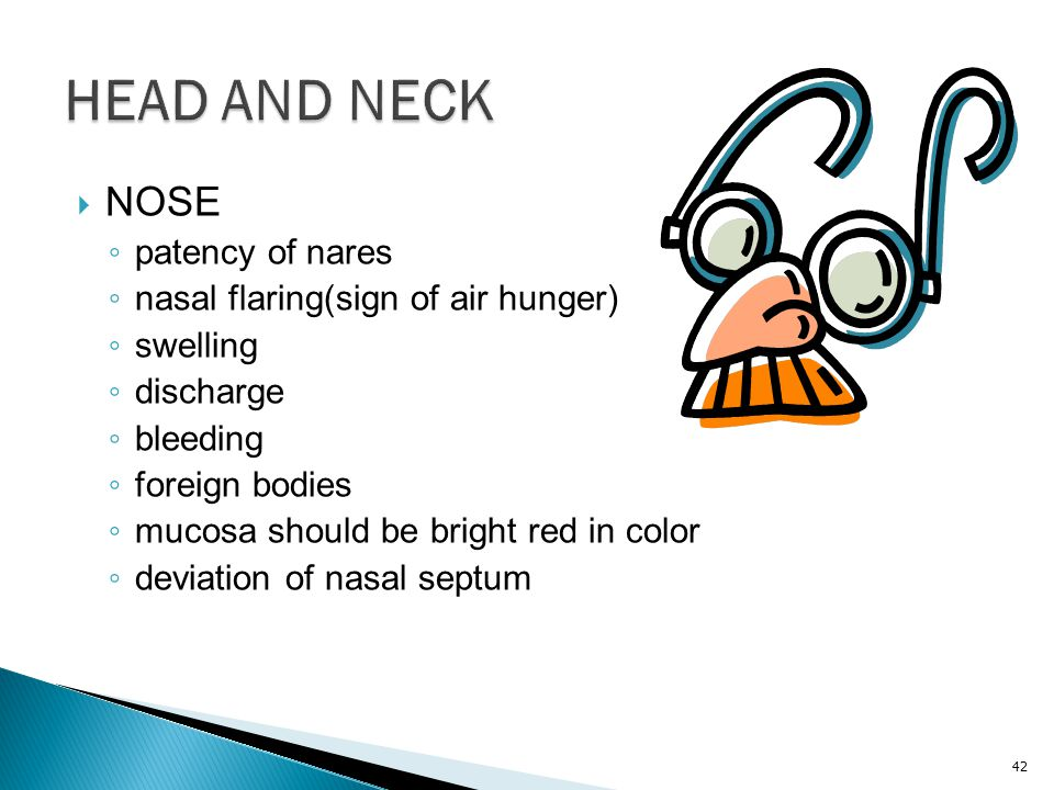 HEAD AND NECK NOSE patency of nares nasal flaring(sign of air hunger)