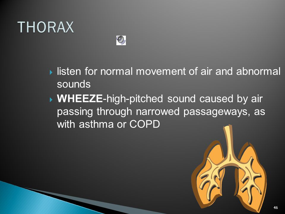 THORAX listen for normal movement of air and abnormal sounds