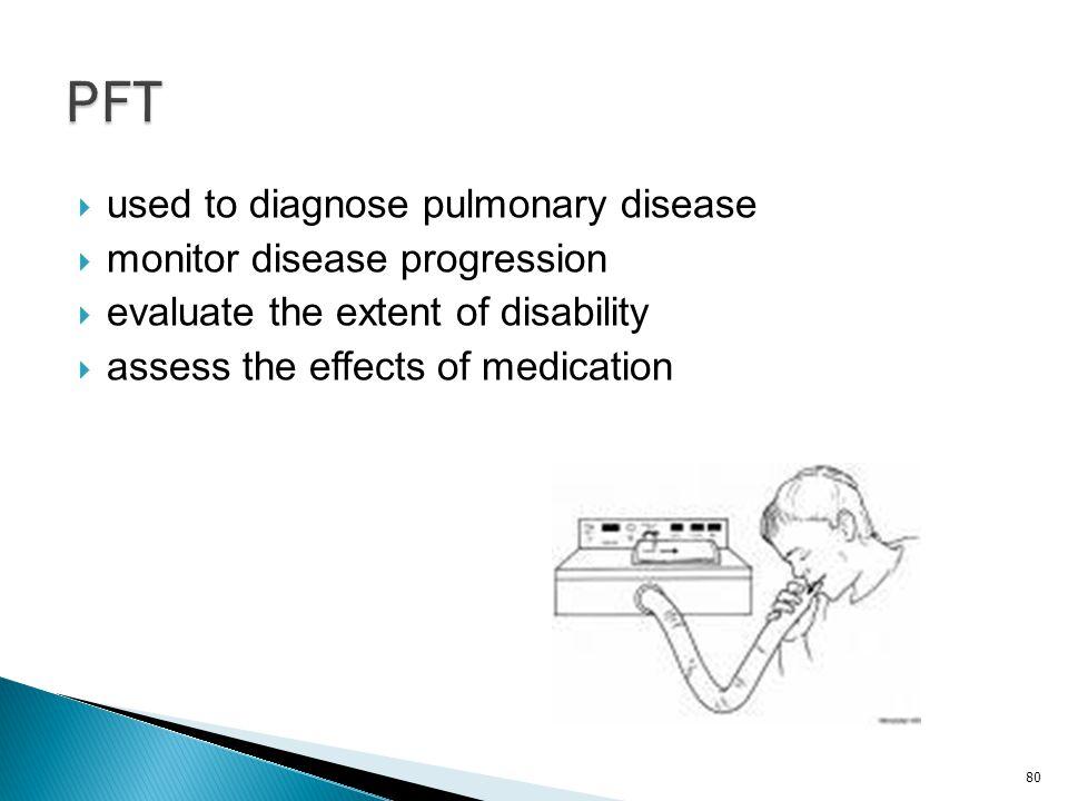 PFT used to diagnose pulmonary disease monitor disease progression