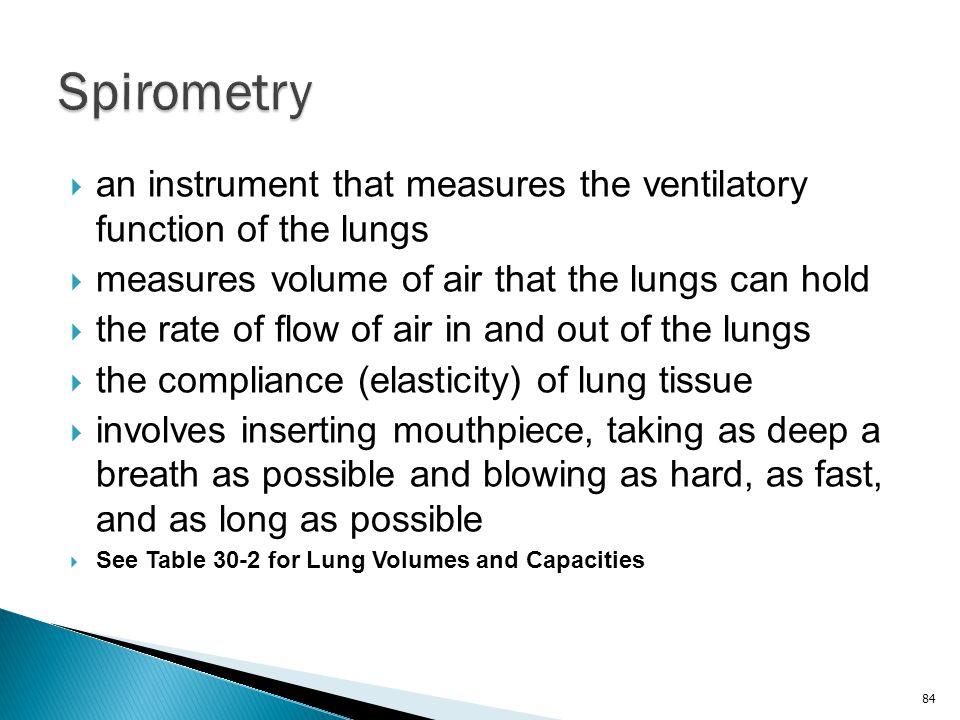 Spirometry an instrument that measures the ventilatory function of the lungs. measures volume of air that the lungs can hold.