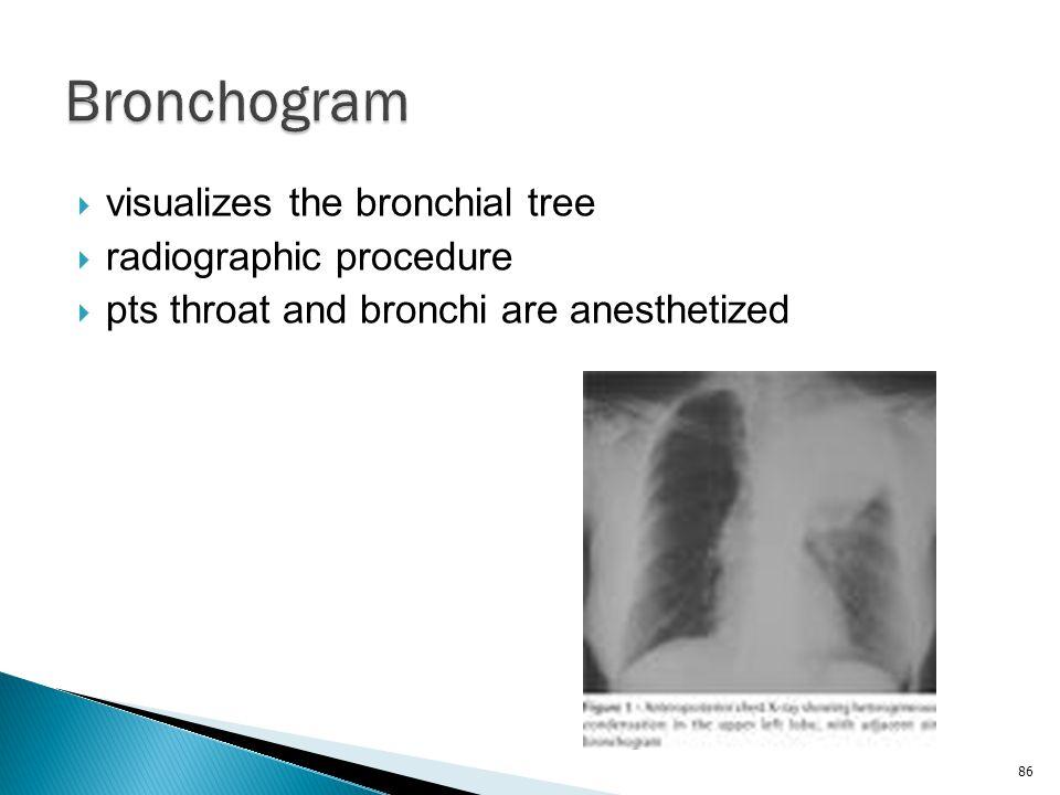 Bronchogram visualizes the bronchial tree radiographic procedure
