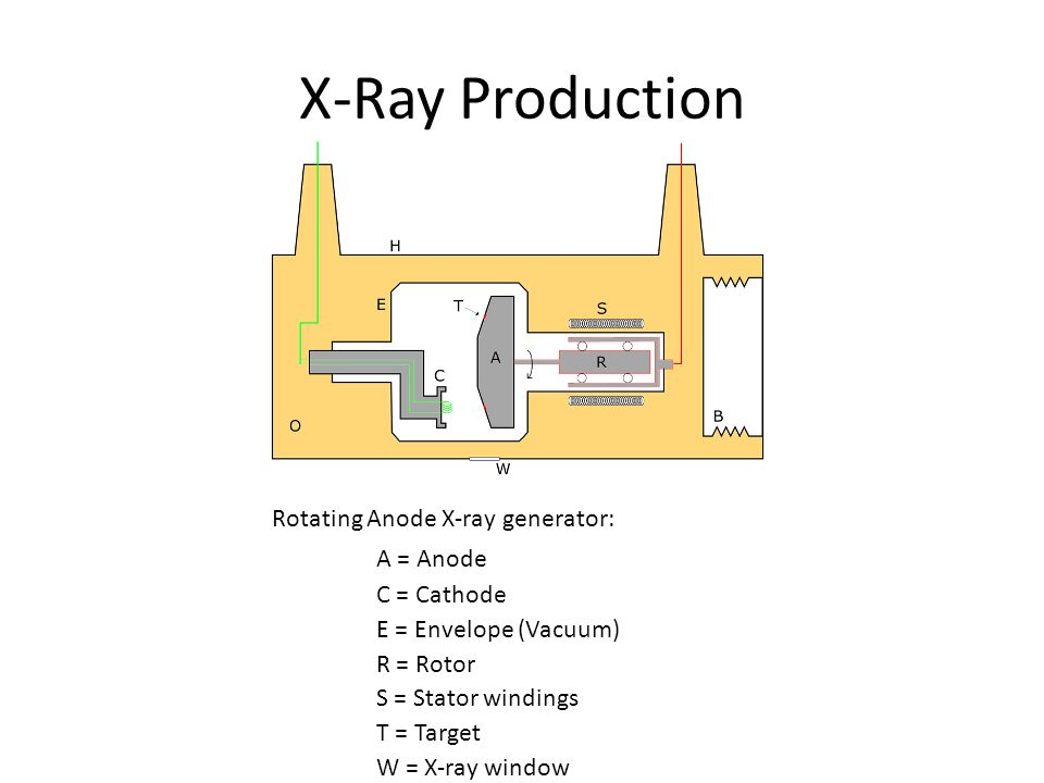 X-Ray Production Rotating Anode X-ray generator: A = Anode C = Cathode