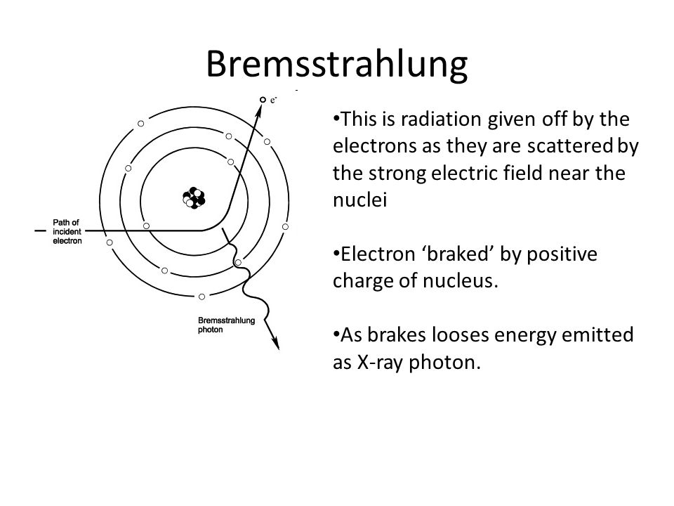 Bremsstrahlung This is radiation given off by the electrons as they are scattered by the strong electric field near the nuclei.