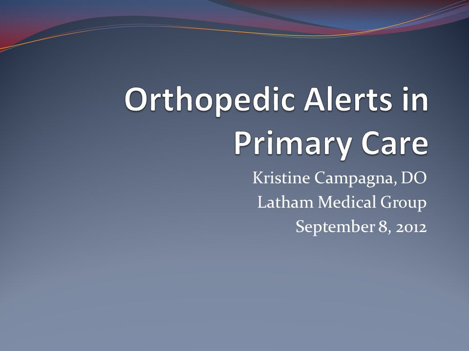 Orthopedic Alerts in Primary Care