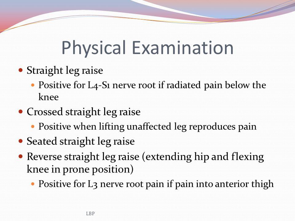 Physical Examination Straight leg raise Crossed straight leg raise