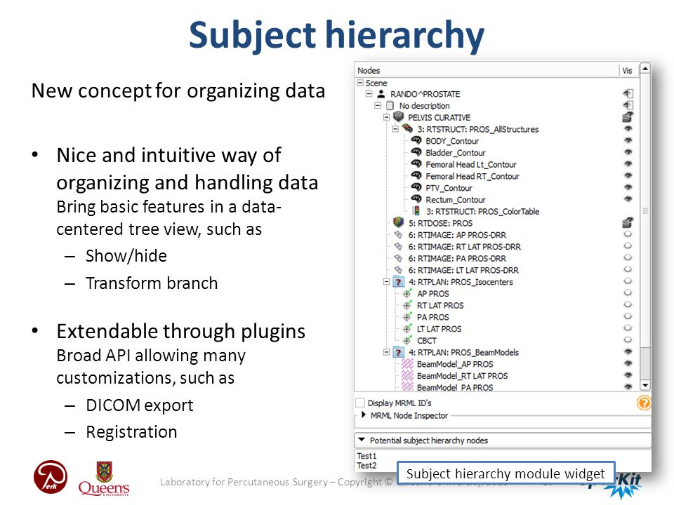 Subject hierarchy module widget