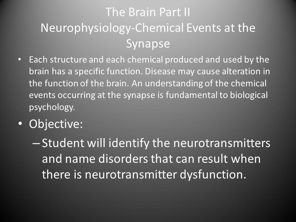 The Brain Part II Neurophysiology-Chemical Events at the Synapse