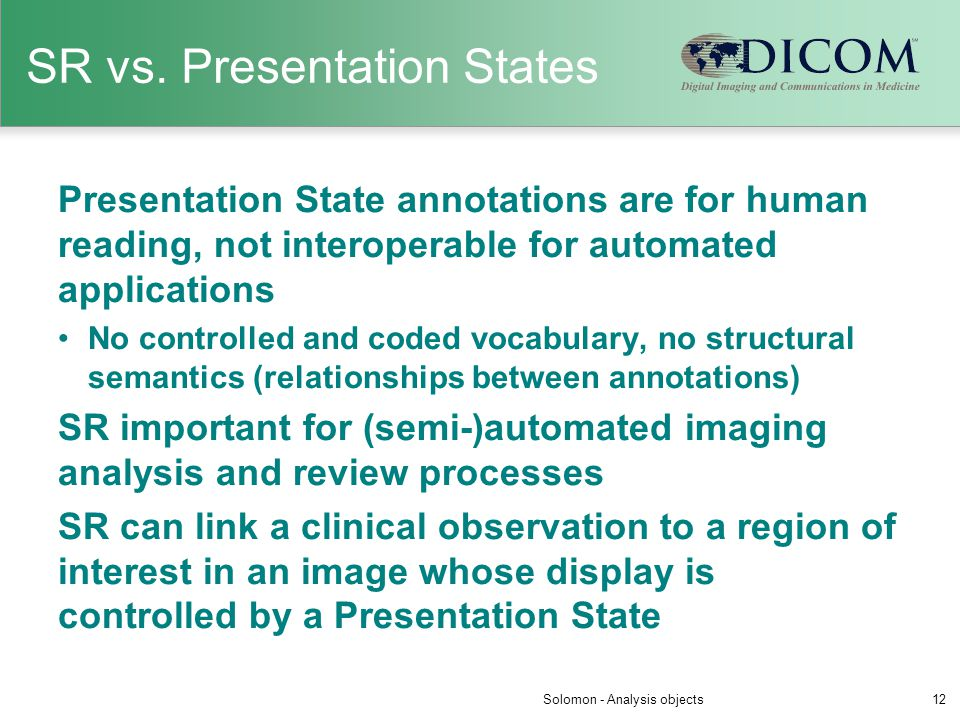 SR vs. Presentation States