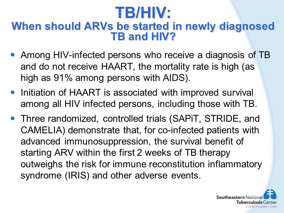 TB/HIV: When should ARVs be started in newly diagnosed TB and HIV