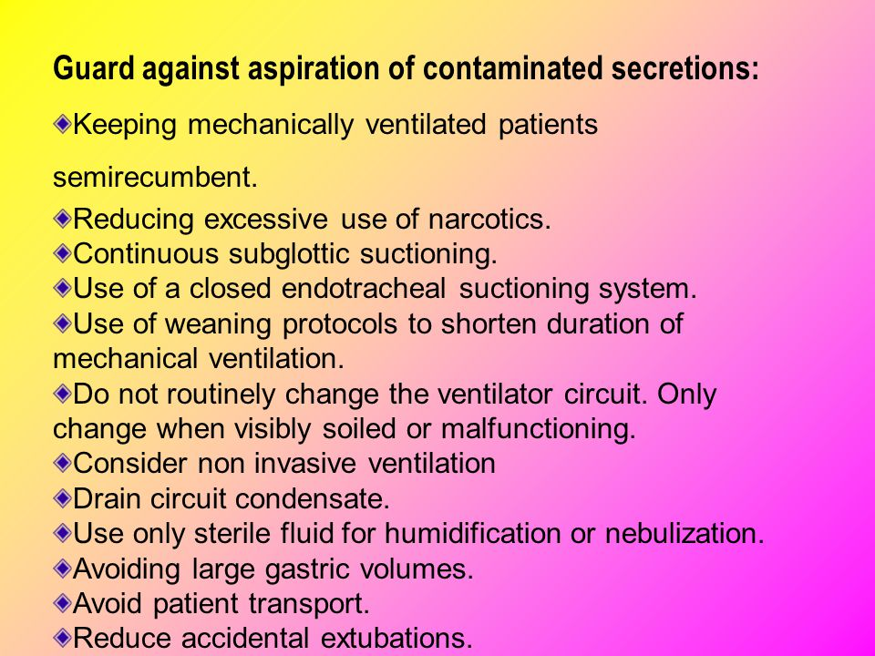 Guard against aspiration of contaminated secretions: