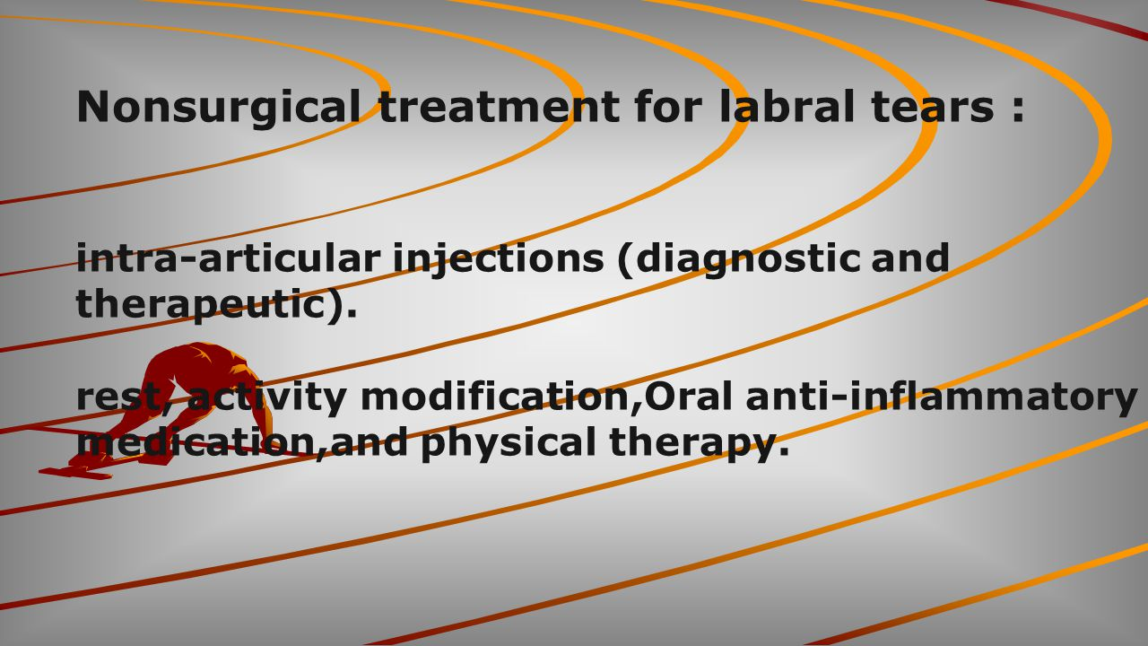 Nonsurgical treatment for labral tears :