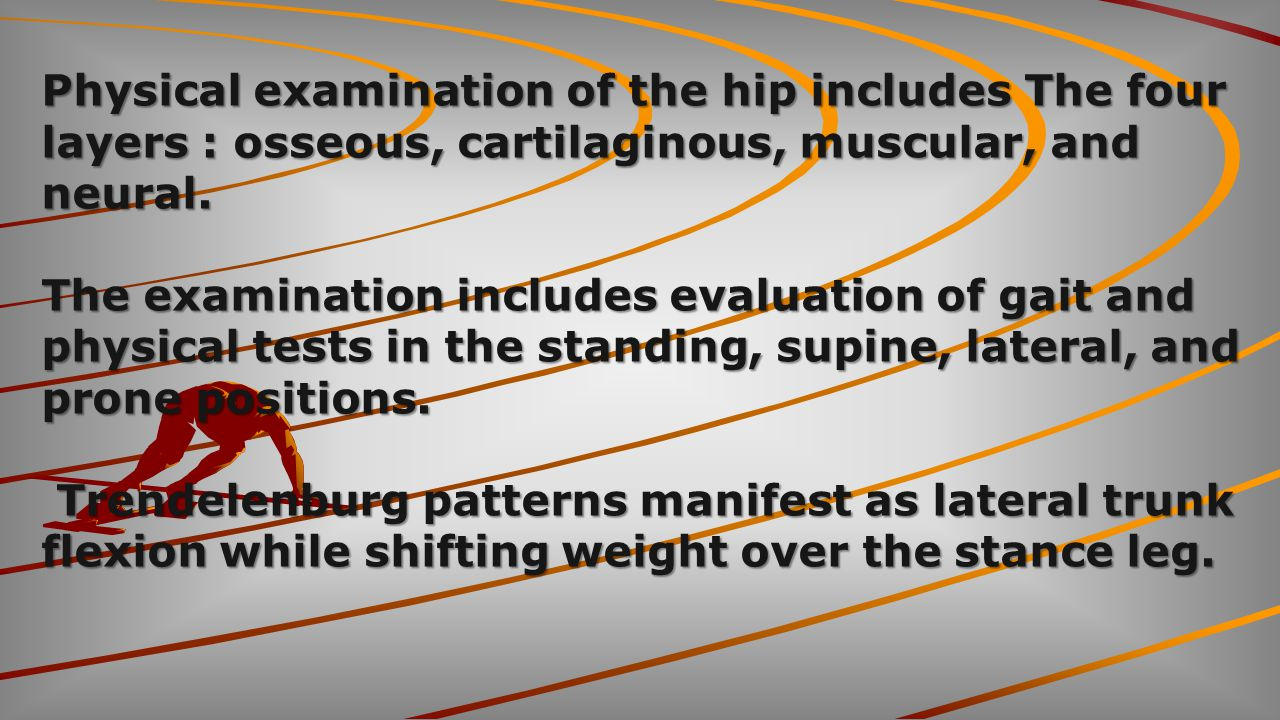Physical examination of the hip includes The four layers : osseous, cartilaginous, muscular, and neural.