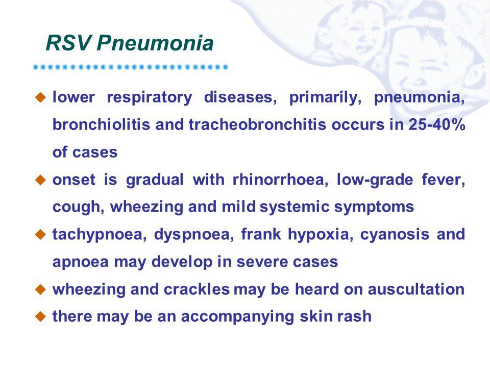RSV Pneumonia lower respiratory diseases, primarily, pneumonia, bronchiolitis and tracheobronchitis occurs in 25-40% of cases.