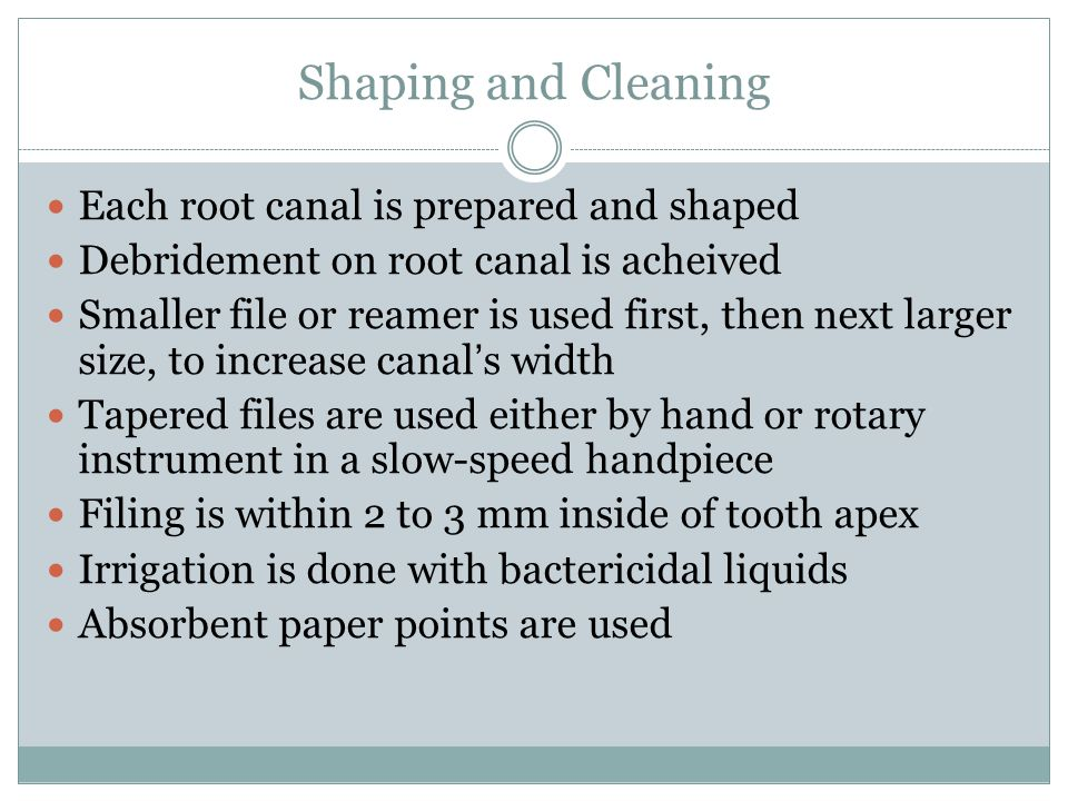 Shaping and Cleaning Each root canal is prepared and shaped