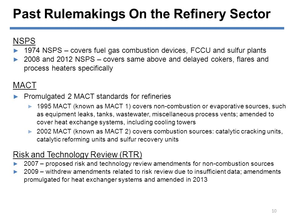 Past Rulemakings On the Refinery Sector