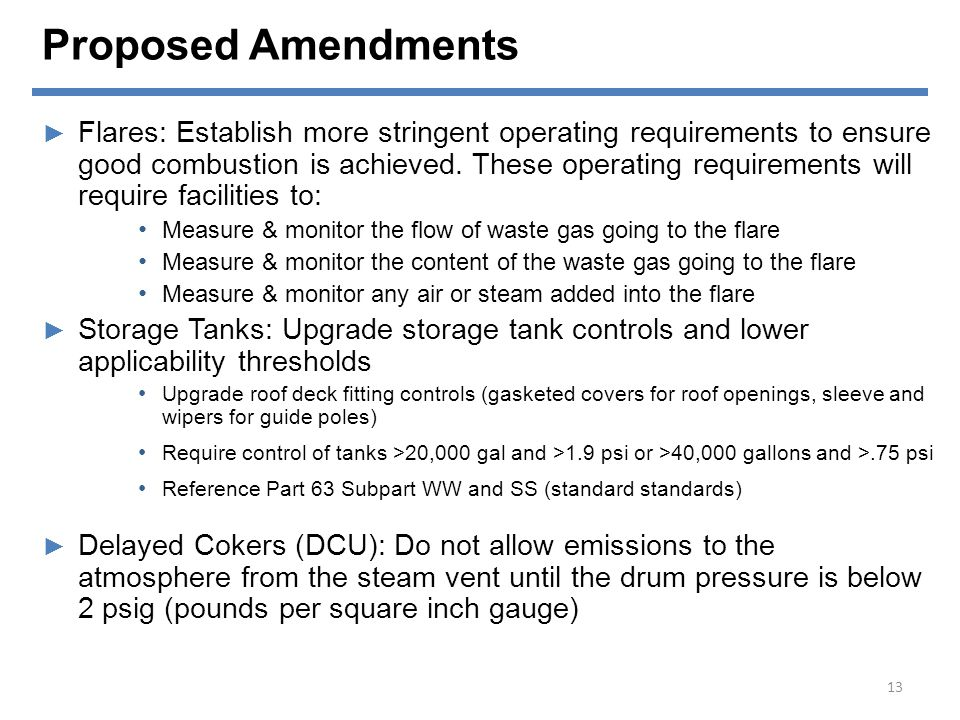 Proposed Amendments