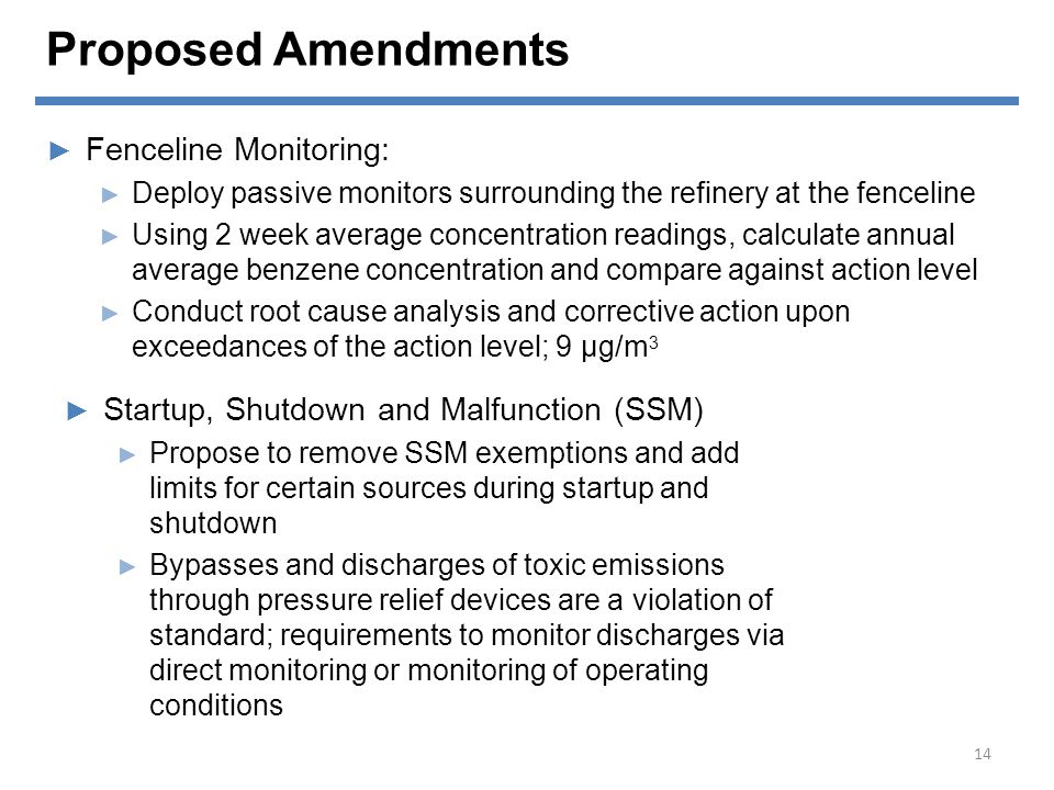 Proposed Amendments Fenceline Monitoring: