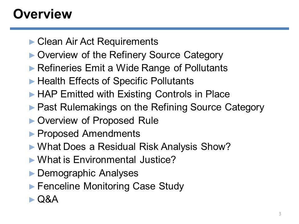 Overview Clean Air Act Requirements