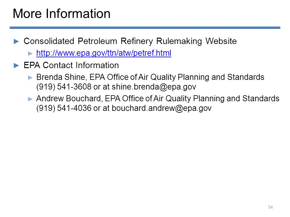 More Information Consolidated Petroleum Refinery Rulemaking Website