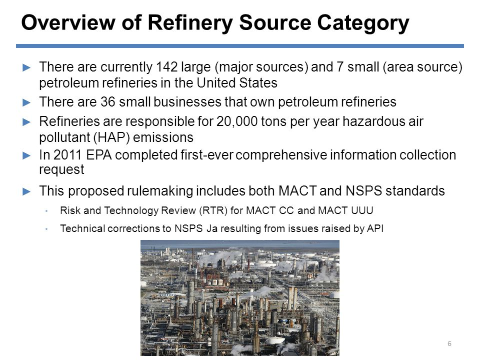 Overview of Refinery Source Category