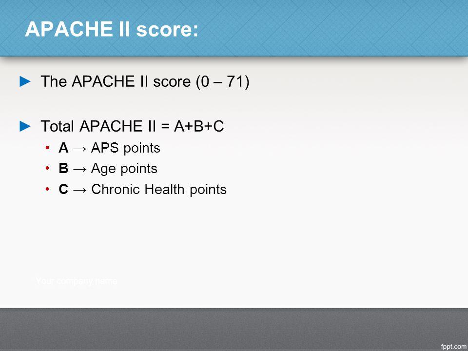 APACHE II score: The APACHE II score (0 – 71) Total APACHE II = A+B+C