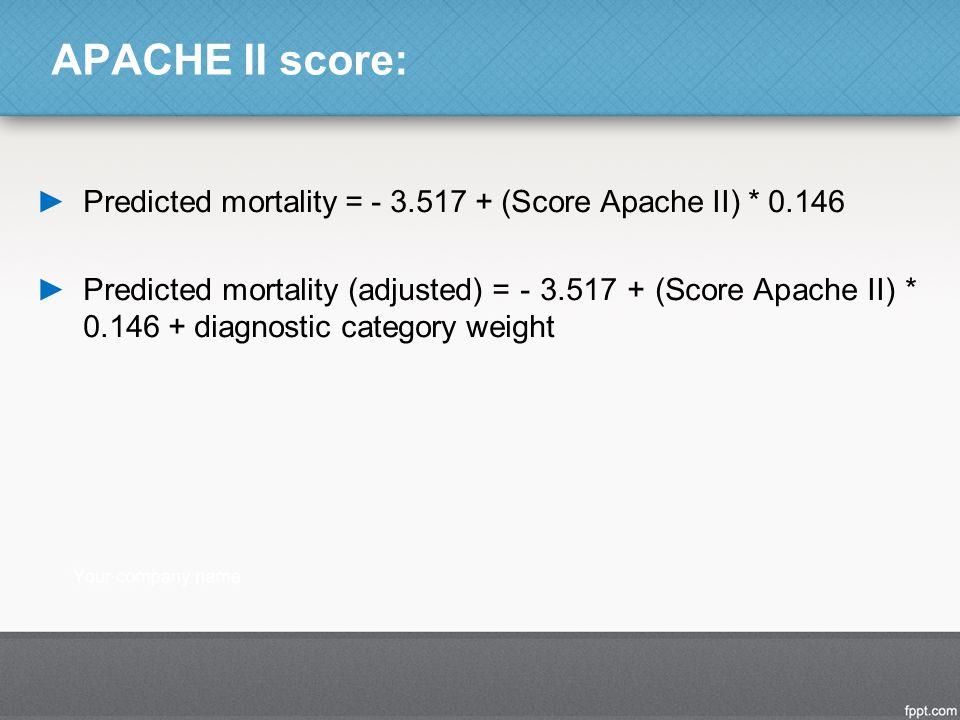 APACHE II score: Predicted mortality = - 3.517 + (Score Apache II) * 0.146.