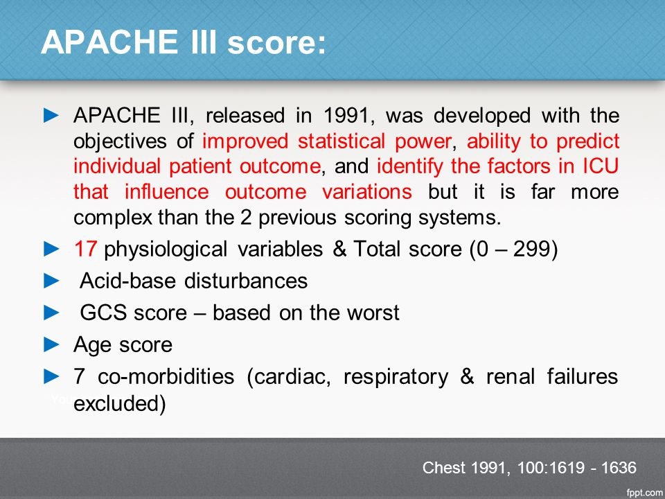 APACHE III score: 17 physiological variables & Total score (0 – 299)