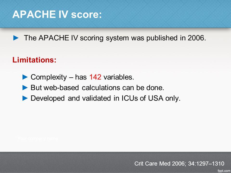 APACHE IV score: Limitations: