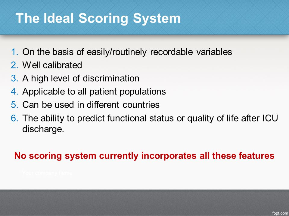 The Ideal Scoring System