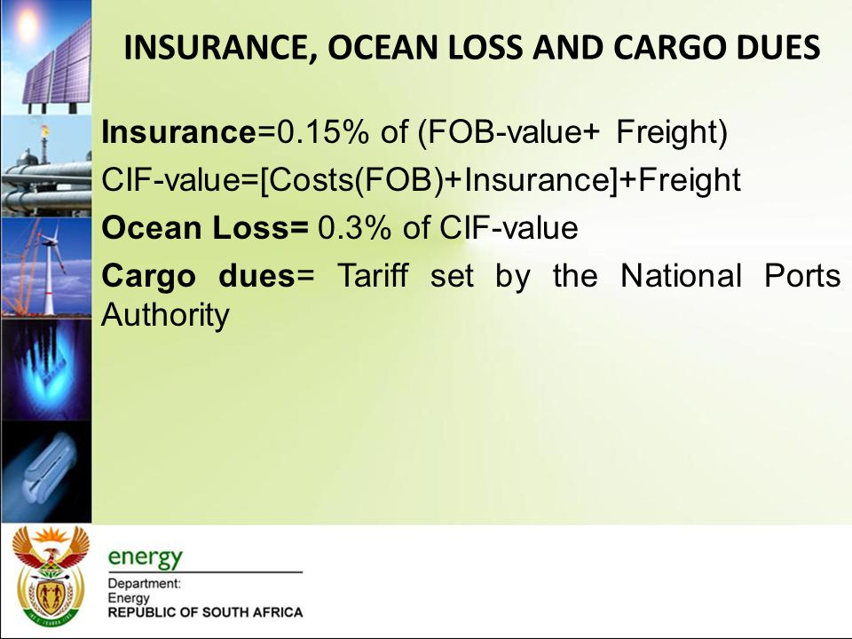 INSURANCE, OCEAN LOSS AND CARGO DUES
