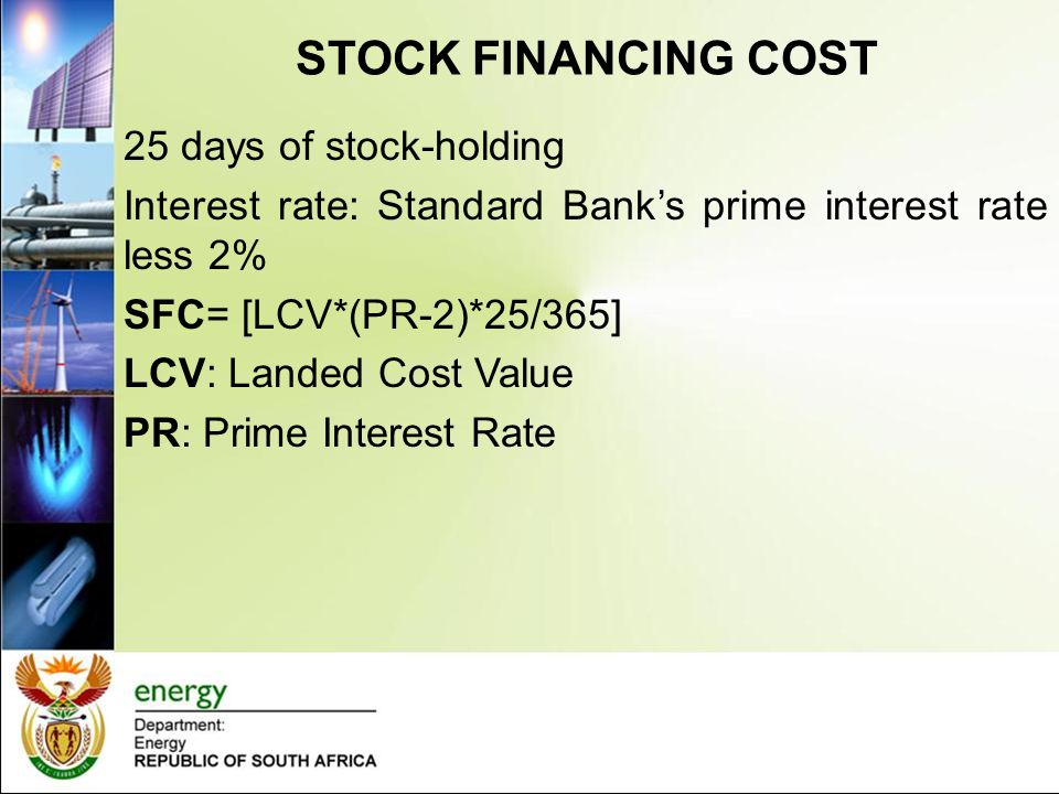 STOCK FINANCING COST 25 days of stock-holding