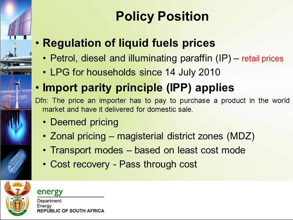 Policy Position Regulation of liquid fuels prices