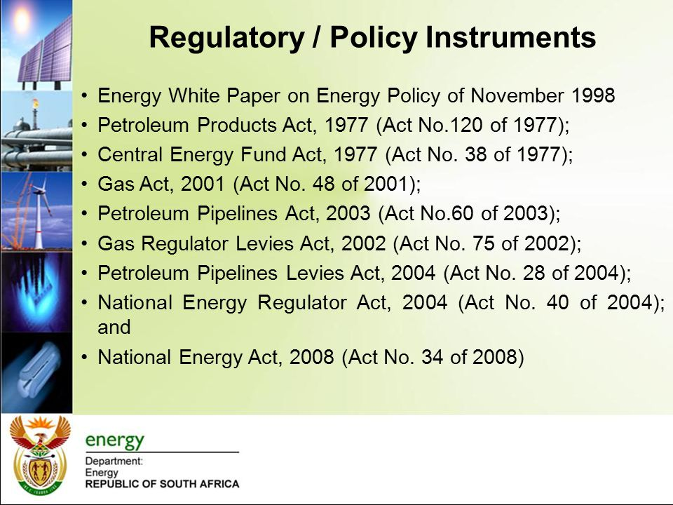 Regulatory / Policy Instruments