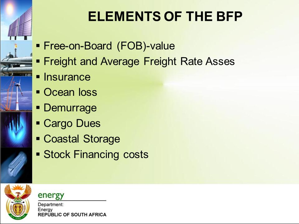 ELEMENTS OF THE BFP Free-on-Board (FOB)-value