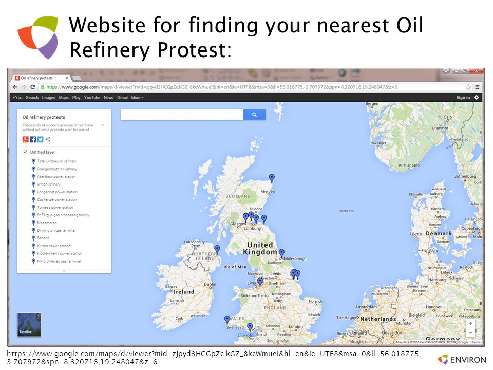 Website for finding your nearest Oil Refinery Protest: