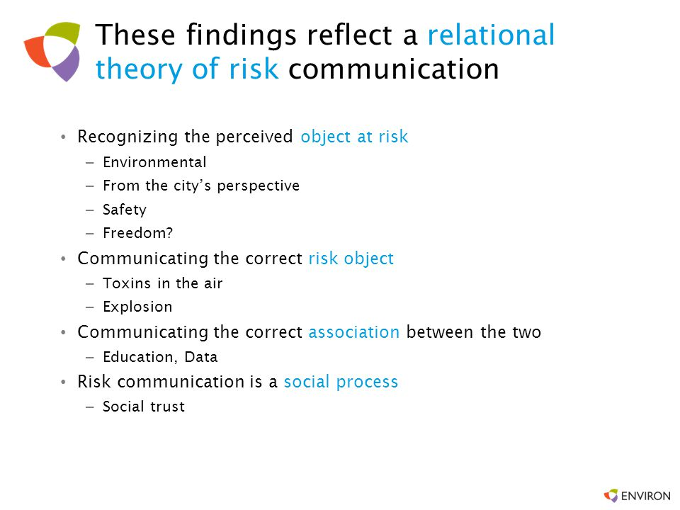 These findings reflect a relational theory of risk communication