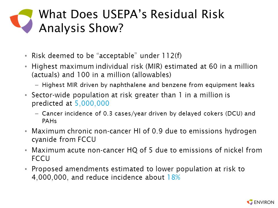 What Does USEPA's Residual Risk Analysis Show
